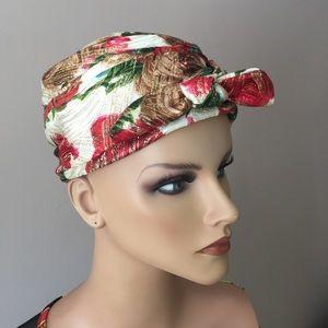 Vintage 1960s Red, White, & Green Turban